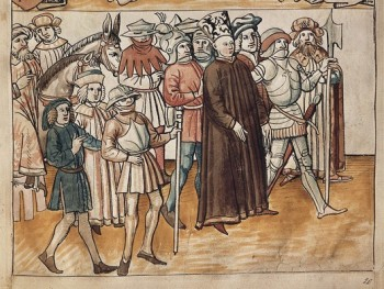 Hus, Jan (1369-1415). Czech priest and religious reformer.; RICHENTAL, Ulrich von (1365-1438). Chronicler. Illustration of John Huss' arrest in Constance, from the 'Chronik des Constanzer concils' (Chronicle of the Council of Constance) by Ulrich von Richental. Anonymous illustration from the German School. Miniature Painting. CZECH Rep.. Prague. National Library of the Czech Republic.