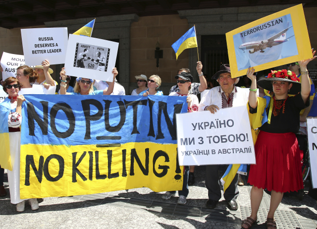 Demonstrace proti ruské agresi na Ukrajině, ilustrační foto (ČTK)