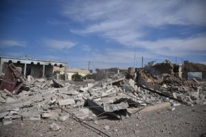ALEPPO, SYRIA - OCTOBER 20: Debris of buildings are seen after Daesh terrorists exploded buildings as they were fleeing from Dabiq village of Aleppo, Syria on October 20, 2016. The villages were cleared as part of Turkey?s Operation Euphrates Shield. Dabiq has a symbolic importance for Daesh, as the group believes it will be the site of an end-times battle with non-Muslims. Huseyin Nasir / Anadolu Agency