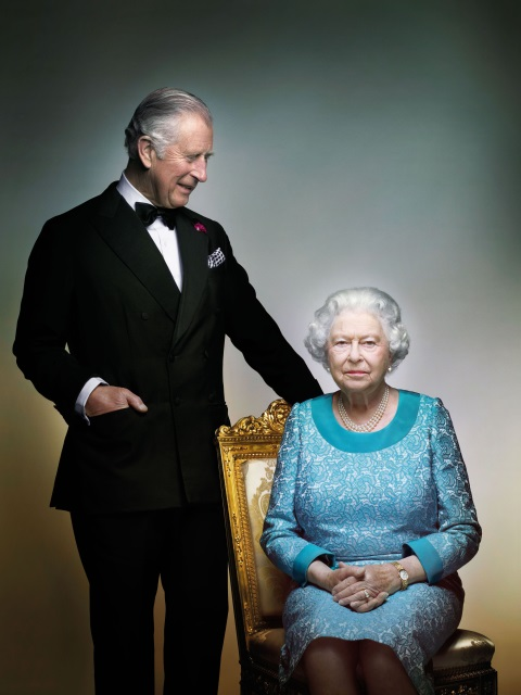 This photograph taken by Nick Knight is a portrait of Britain's Queen Elizabeth II and Prince Charles, taken in the White Drawing Room at Windsor Castle, England in May 2016, prior to the final night of The Queen's 90th Birthday Celebrations at the Royal Windsor Horse Pageant, to mark the end of the year of celebrations for The Queen's 90th birthday. (?2016 Nick Knight)