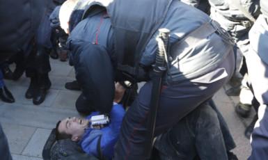 Ilustrační foto - Zásah policie při demonstraci v Moskvě (ČTK)