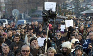 Protest proti zavedení EET v v prosinci loňského roku na Václavském náměstí (ČTK)