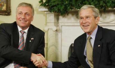 Mirek Topolánek a George W. Bush (ČTK)