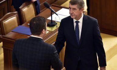 Předseda sněmovny Jan Hamáček (ČSSD) a předseda hnutí ANO Andrej Babiš. (ČTK)