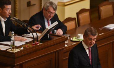 Lídři neformální koalice Andrej Babiš, Vojtěch Filip a Tomio Okamura (ČTK)