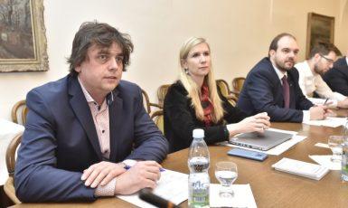Zasedá mandátový a imunitní výbor. Zleva Miloslav Rozner (SPD), Kateřina Valachová (ČSSD), Lukáš Bartoň (Piráti) a Jakub Michálek (Piráti). (ČTK)