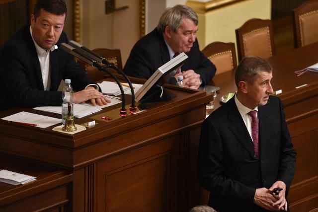 Tomio Okamura (SPD), Vojtěch Filip (KSČM) a Andrej Babiš (ANO) (ČTK)