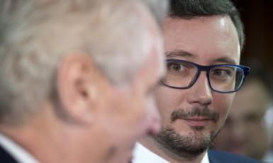 Prezident Miloš Zeman a mluvčí Jiří Ovčáček (ČTK)