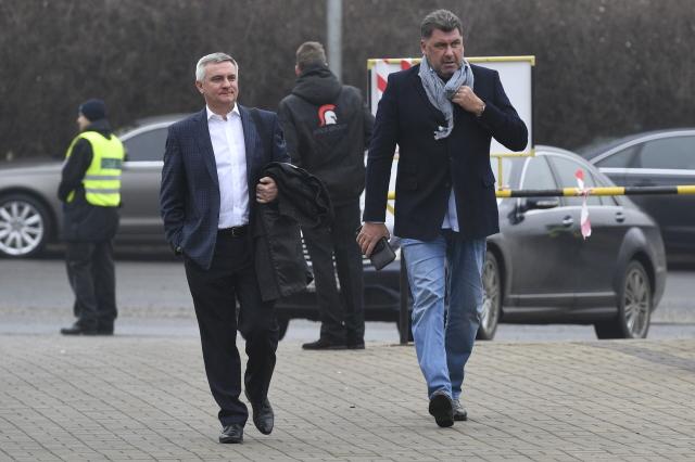 Vratislav Mynář po boku Zemanova neformálního nadřízeného Zdeňka Nejedlého  (ČTK)