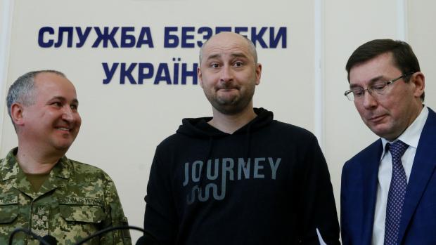 Arkadij Babčenko na tiskové konferenci (Reuters)