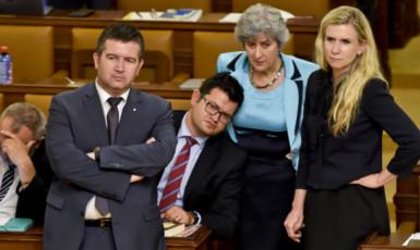 Předseda ČSSD Jan Hamáček a poslanci Jan Chvojka, Alena Gajdůšková a Kateřina Valachová  (ČTK)