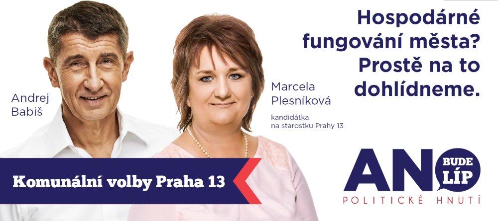 Andrej Babiš podporuje kandidátku na starostku Prahy 13 Marcelu Plesníkovou (FB ANO)
