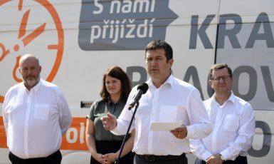Mítink ČSSD před minulými volbami. Zleva Miroslav Toman, Jana Maláčová, Jan Hamáček a Antonín Staněk  (ČTK)
