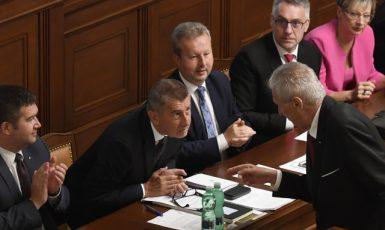 Prezident Miloš Zeman a premiér Andrej Babiš při hlasování o důvěře vládě  (ČTK)