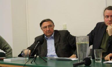Debata na FSV UK, které se účastnil Alojz Lorenc (Petr Blažek)