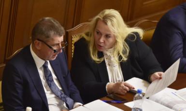 Premiér Andrej Babiš a ministryně pro místní rozvoj Klára Dostálová   (ČTK)