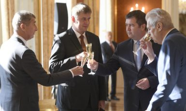 Premiér Andrej Babiš, ministr zahraničí Tomáš Petříček, ministr vnitra Jan Hamáček a prezident Miloš Zeman  (ČTK)