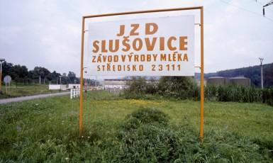 Dobová reklamní fotografie Agrokombinátu Slušovice z roku 1982, která sloužila pro prezentaci výrobního programu na zemědělských výstavách v Českých Budějovicích a ve slovenské Nitře. (ČTK)