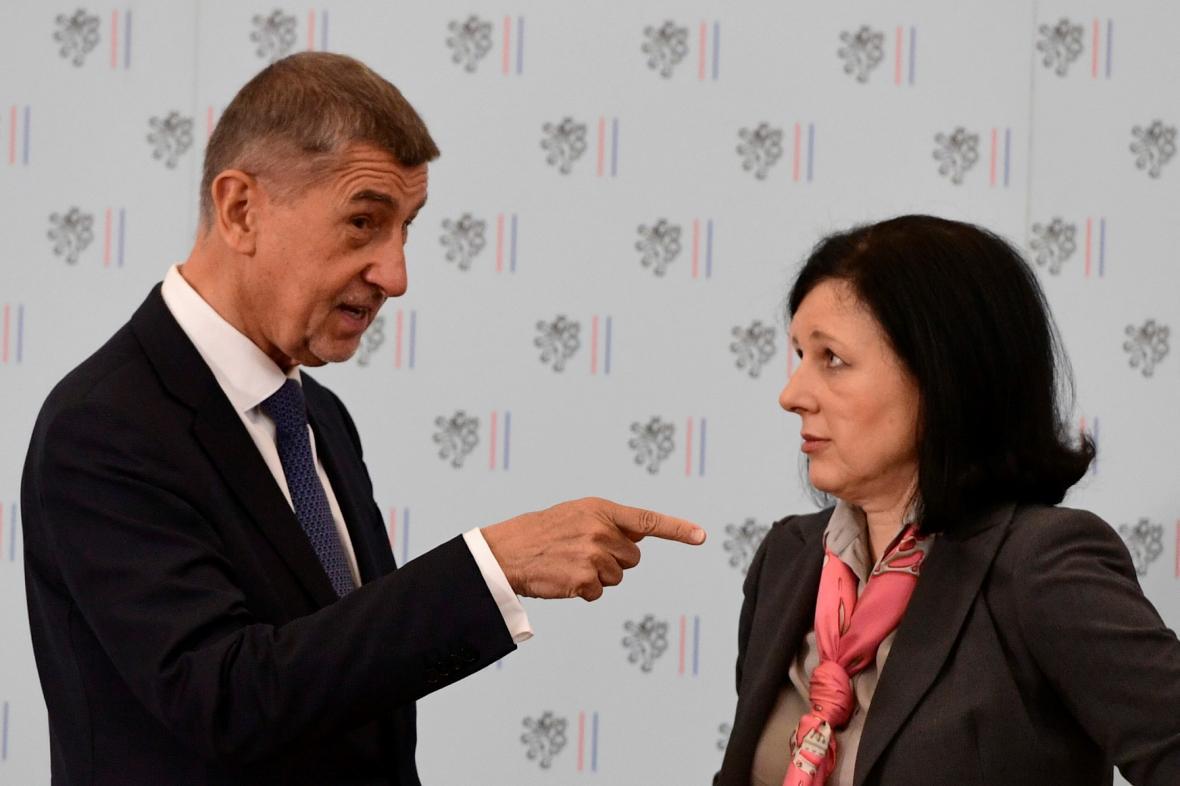 Premiér Andrej Babiš a eurokomisařka Věra Jourová (ČTK)