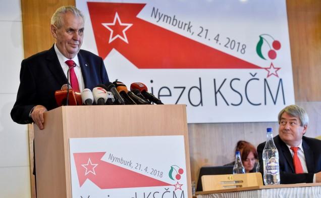 Miloš Zeman na sjezdu KSČM v dubnu 2018 (ČTK)