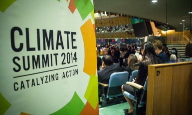 Behind the scenes at the UN Climate Summit, Sept 23, 2014. Photo: United Nations / John Gillespie ()