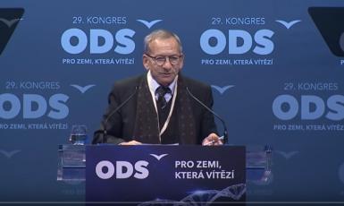 Jaroslav Kubera při sobotním vystoupení na kongresu ODS (printscreen záznam kongresu ODS)