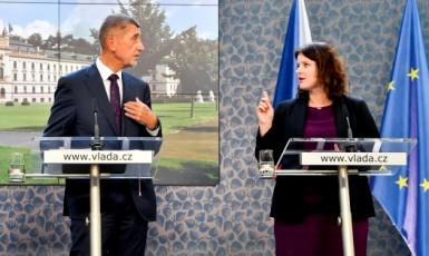 Premiér Andrej Babiš (ANO) a ministryně práce a sociálních věcí Jana Maláčová (ČSSD)  (ČTK)