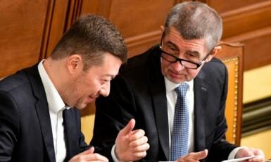 Předseda SPD Tomio Okamura a premiér Andrej Babiš (ANO)  (ČTK)