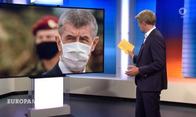 Českému premiérovi a jeho střetu zájmů se věnoval první kanál německé veřejnoprávní televize ARD.  (printscreen ARD)
