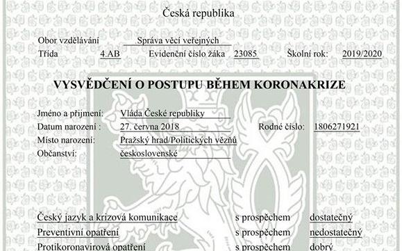 Vysvědčení vládě -  osvědčený formát satirické kritiky, tentokrát na téma koronakrize (FB TOP 09)