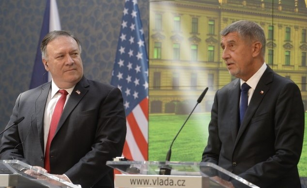 Americký ministr zahraničí Mike Pompeo a premiér Andrej Babiš  (ČTK)