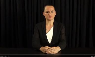 Šéfka běloruské opozice Svjatlana Cichanouská  (repro Twitter)