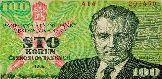 Sovětsko-ruský gubernátor Gottwald na československé stokoruně z roku 1989 (archiv autora)