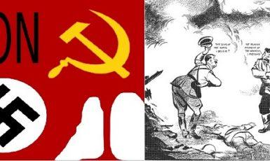 Gangsterský pakt Hitler-Stalin rozpoutal světovou válku (wikipedie / koláž)