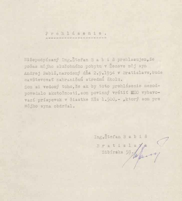 AMZV, fond MZO 1945-92, složka Babiš Štefan (Ženeva).