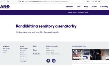 Print screen webových stránek hnutí ANO
