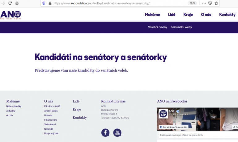 Prezentace kandidátů a kandidátek hnutí ANO do senátu není úplně dokonalá (Print screen webových stránek hnutí ANO)