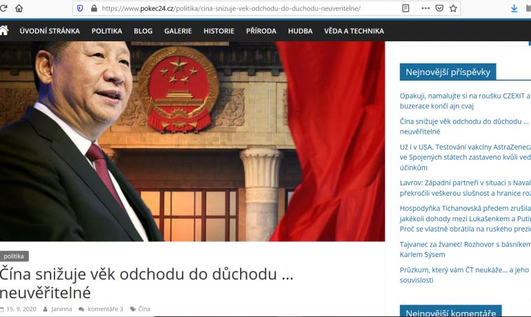 Lež o čínských důchodech šířená komunistou Vojtěchem Filipem  (print screen Pokec24)
