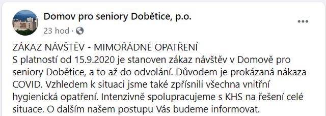 FB Domova pro seniory Dobětice