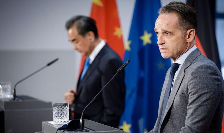 Německý ministr zahraničí Heiko Maas a jeho čínský protějšek Wang I (Ministerstvo zahraničí SRN)
