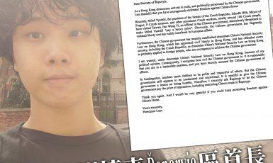 Hongkongský aktivista Honcques Laus a jeho dopis Pavlu Novotnému  (Twitter Pavel Novotný)