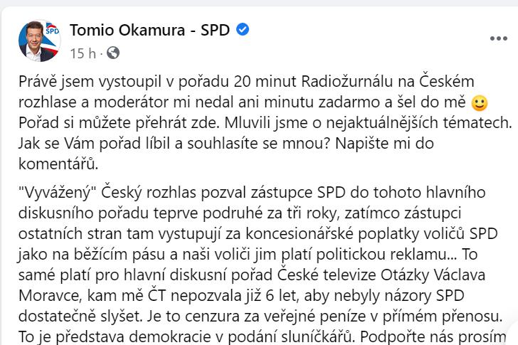Facebook SPD - Tomio Okamura