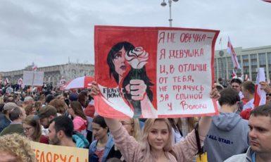 Protesty proti zfalšovaným prezidentským volbám v Bělorusku (Twitter: Selvestor Vivat @S_vivat)