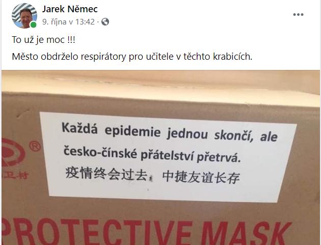 Facebook starosty Kroměříže Jaroslava Němcee