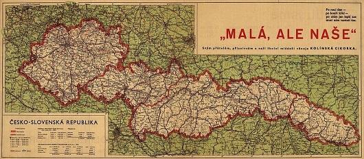 "Mapa druhorepublikového Česko-Slovenska po ""amputacích"" z roku 1938 (wikipedie)"