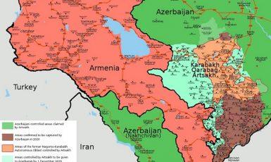 Situace v Náhorním Karabachu těsně před uzavřením příměří (9. 11. 2020) (wikipedie)