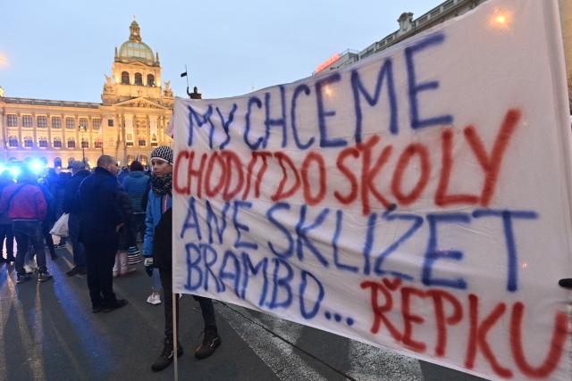 Ilustrační fotografie z demonstrace proti vládním opatřením proti koronaviru a za návrat dětí do škol, která se konala 17. listopadu 2020 v centru Prahy.  (ČTK)