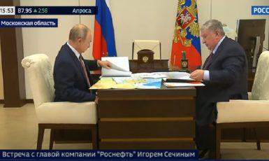 Video s Putinem. Prezident prakticky nepoužívá při listování dokumenty pravou ruku.  (YouTube)