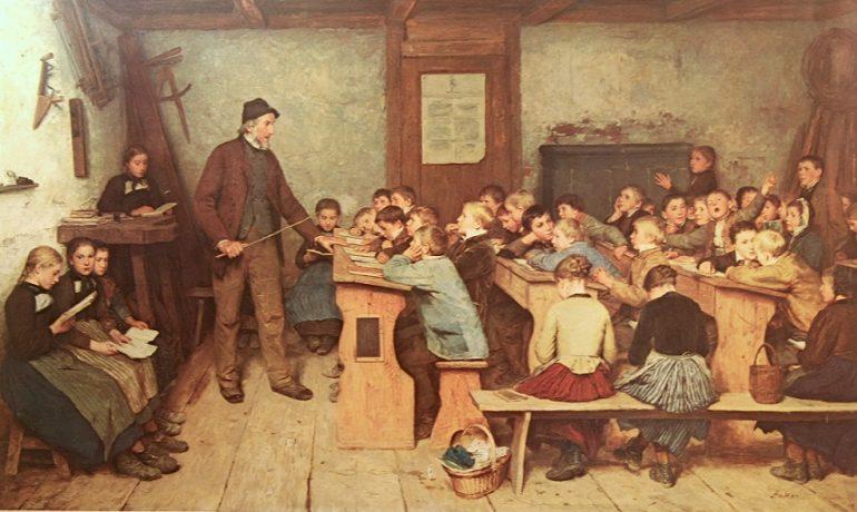 Vzdělávací proces se neustále vyvíjí (Albrecht Anker, venkovská škola, olej, 1896) (wikipedie)