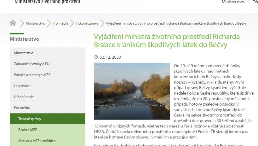 Web Ministerstva životního prostředí